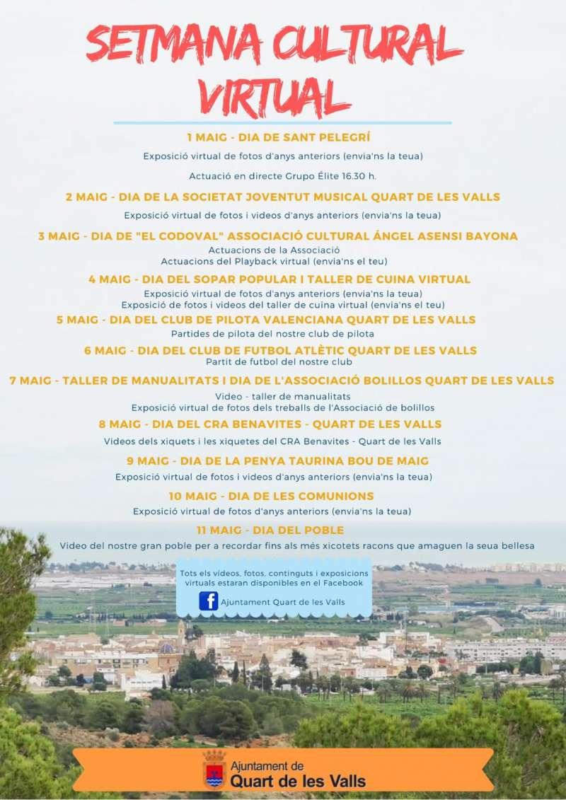 Cartell de la Setmana Cultural virtual de Quart de les Valls.
