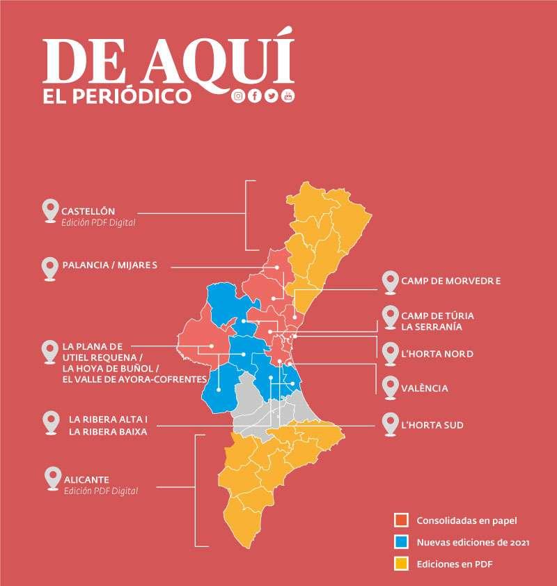 Mapa de cobertura informativa en papel y PDF de El periódico de Aquí