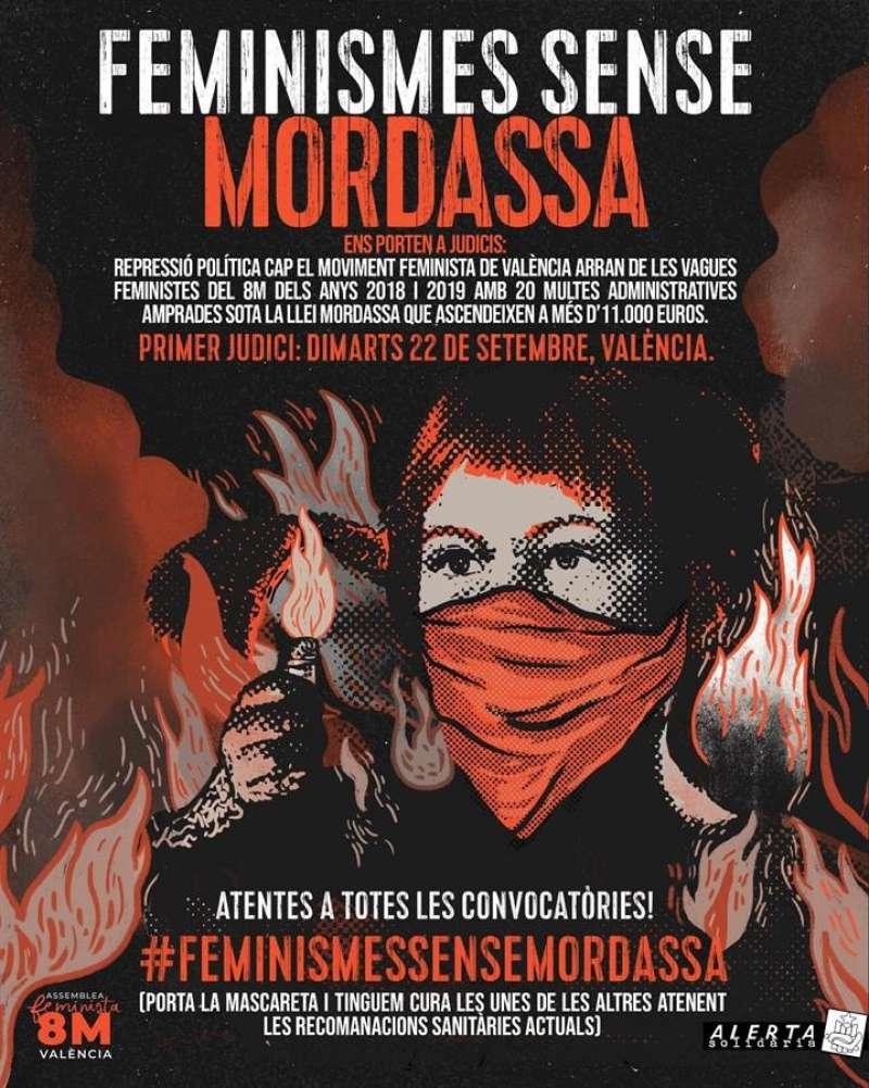 Cartel promocional de las acciones ante la celebración, el 22 de septiembre, del primer juicio por la huelga feminista de 2018.
