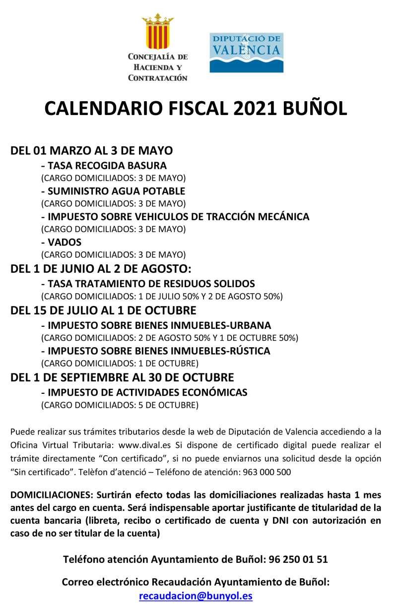 Calendario Fiscal de Buñol. / EPDA