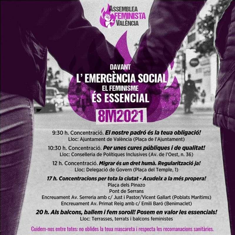 Cartel de programación de las acciones de la Asamblea Feminista.EFE.