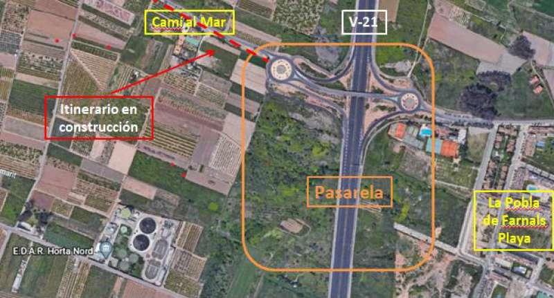 Planol de la passarel·la de La Pobla de Farnals. EPDA