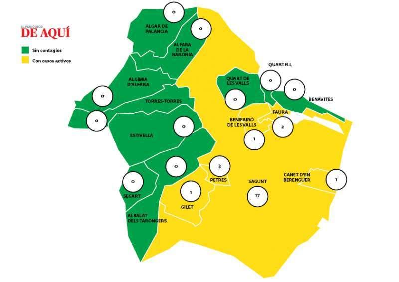 Mapa de casos en el Camp de Morvedre. / EPDA