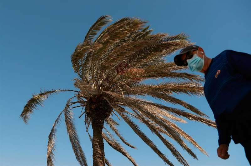 En la imagen, un hombre pasea con mascarilla bajo un fuerte viento. EFE/Kai Försterling/Archivo