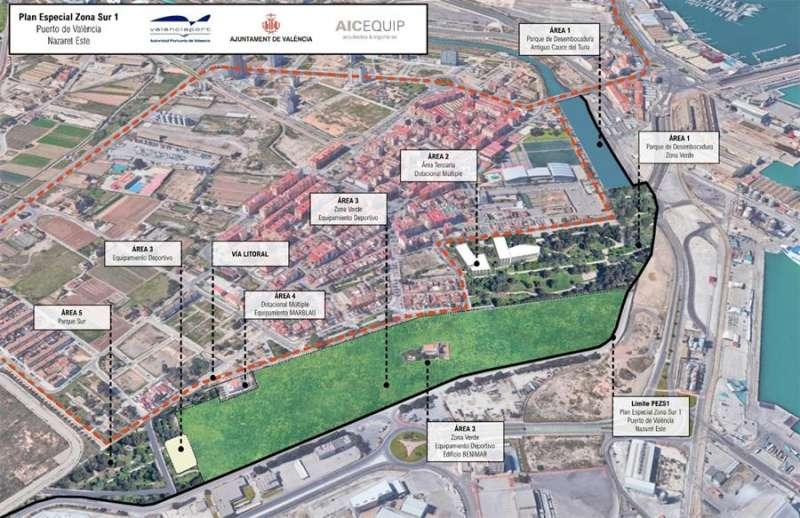 Plano de la actuación del Plan Especial de la Zona Sur 1 del Puerto de València-Nazaret Este. EFE