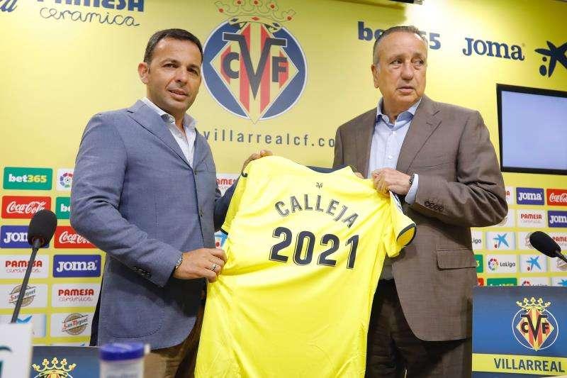 El entrenador del Villarreal, Javier Calleja, en el acto de su renovación de contrato. EFE