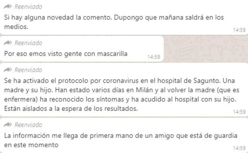 Uno de los mensajes falsos que han ido circulando por WhatsApp. EPDA