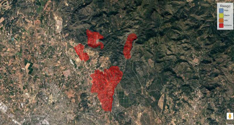 Zonas de riesgo por incendios, Olocau. BSEED.