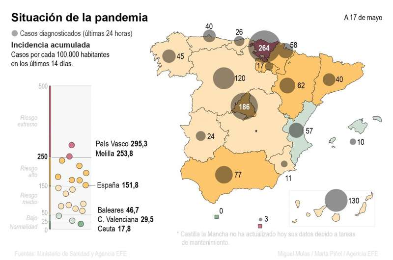 Mapa de contagios en España. EFE
