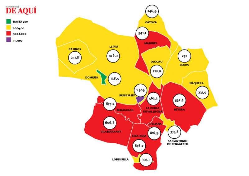 Mapa incidència del Camp de Túria. EPDA.