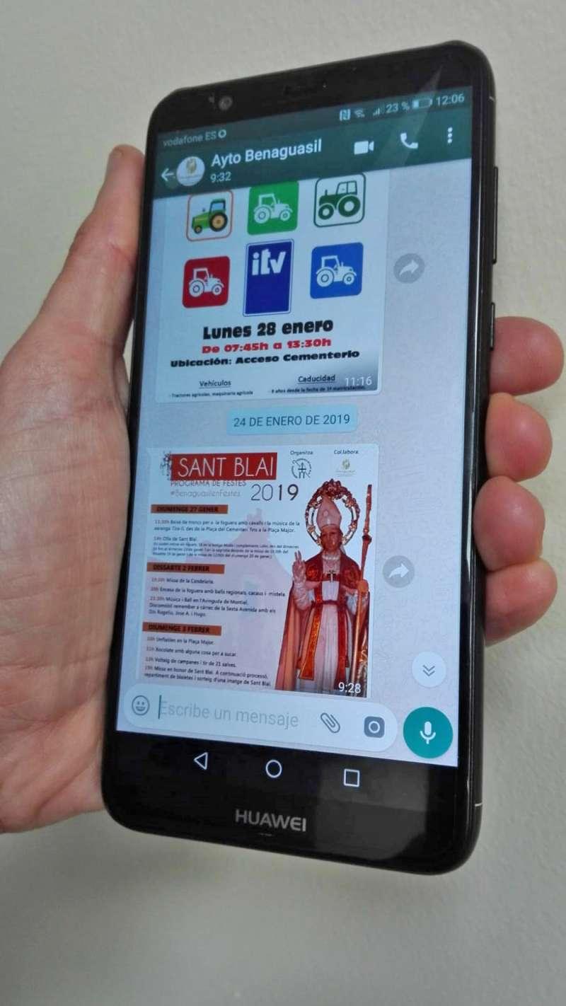 Imagen del servicio de información vía whatsapp en Benaguaisil./epda
