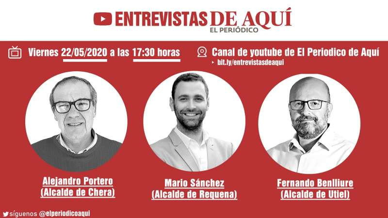 Alejandro, Mario y Fernando, alcaldes de Chera, Requena y Utiel.