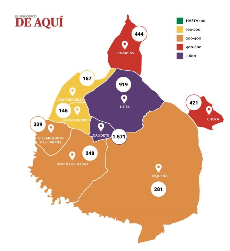 Mapa comarcal de incidencia de la COvid-19 por cada 100.000 habitantes