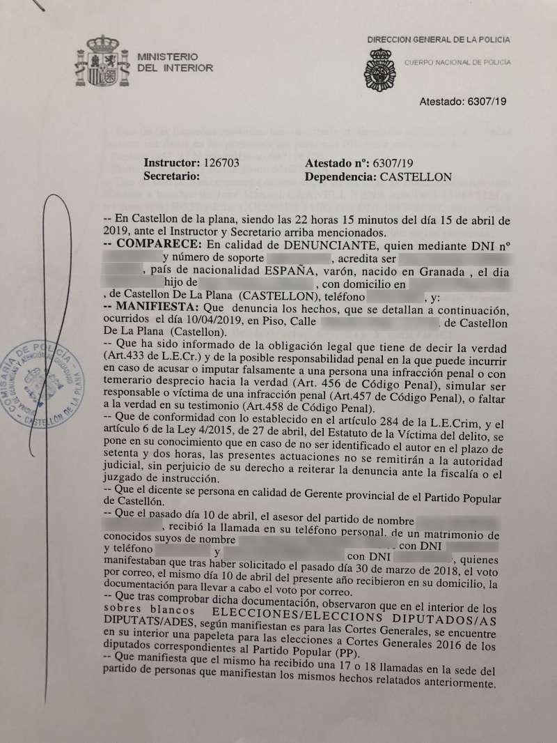Texto de la denuncia ante la Policía Nacional