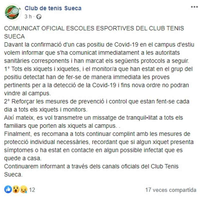 Comunicado del club en Facebook