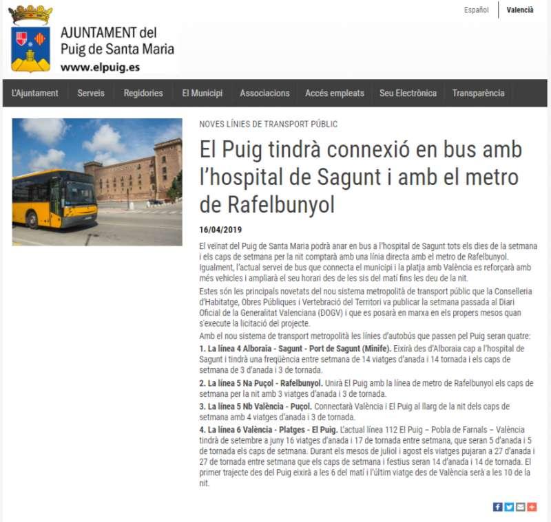 Información publicada en la página web. EPDA