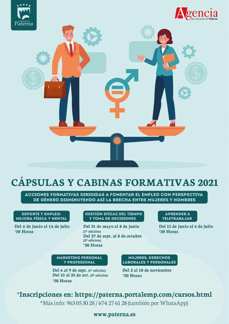 Cartel de las cápsulas formativas impulsadas por el Ayuntamiento de Paterna.