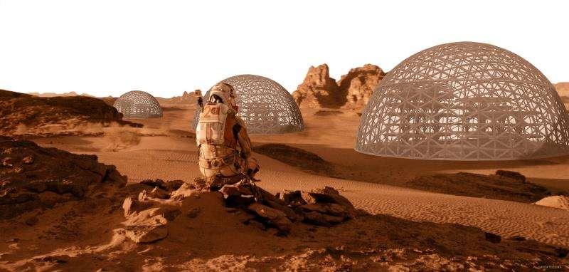 Recreación del paisaje de Marte con las estructuras instaladas, en una imagen de la UPV.
