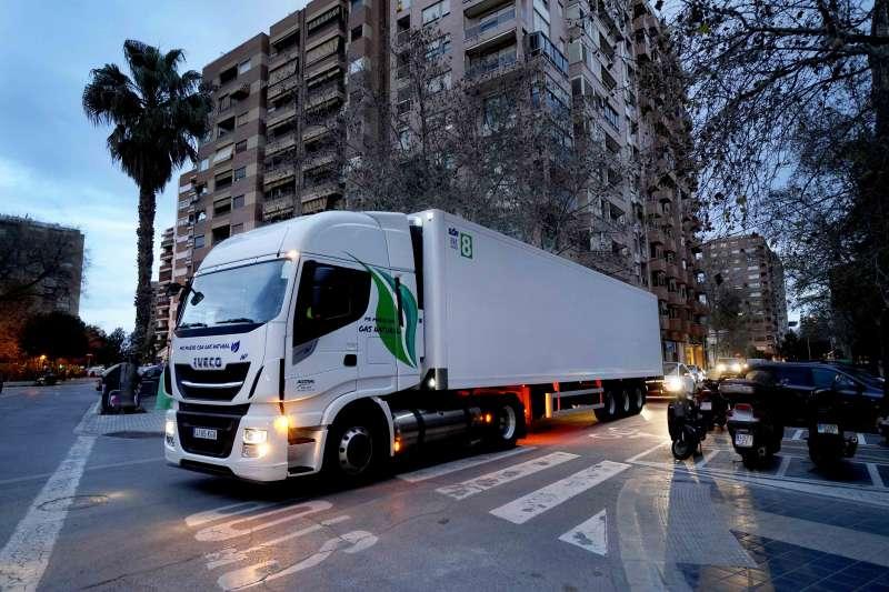 Camión propulsado a Gas GNL de la flota de Mercadona