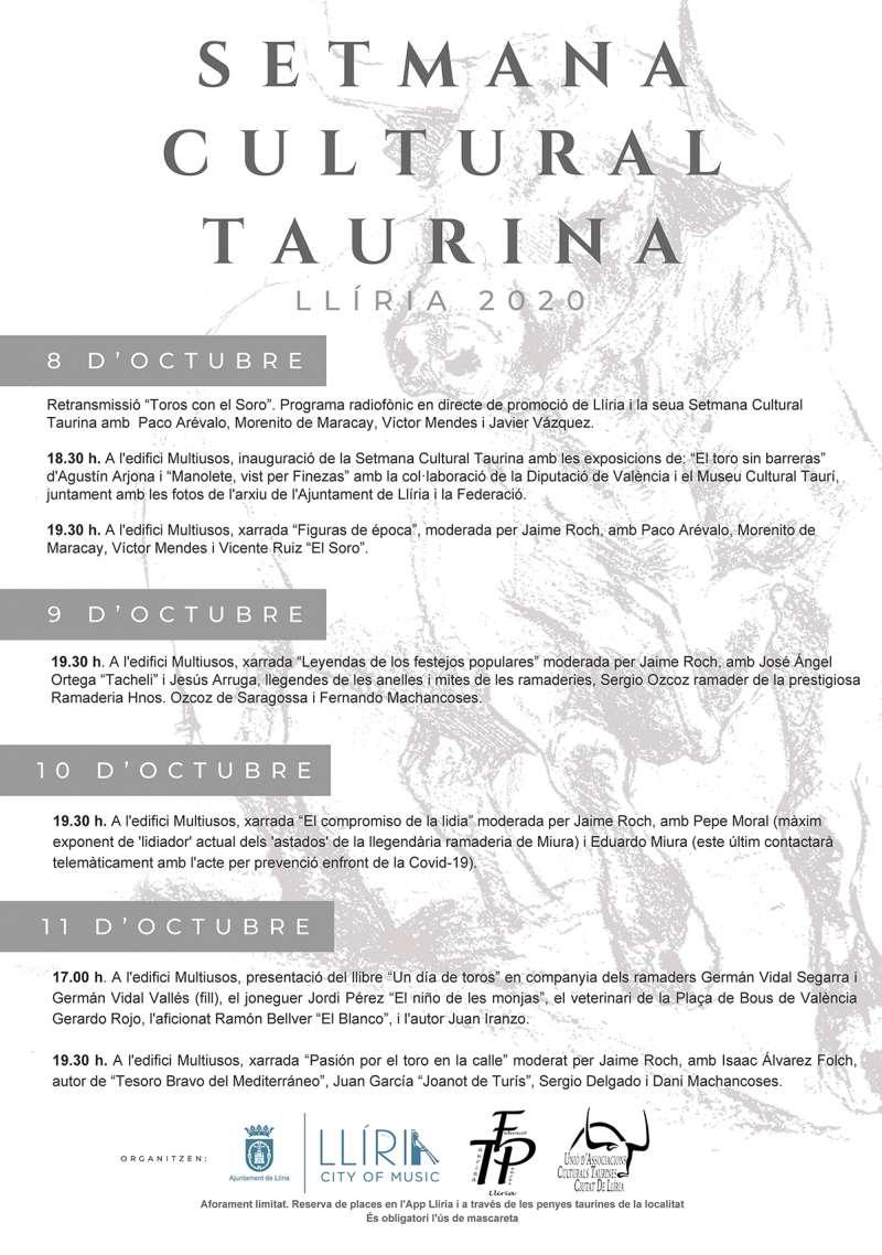 Cartel Semana Taurina en Llíria 2020. / EPDA