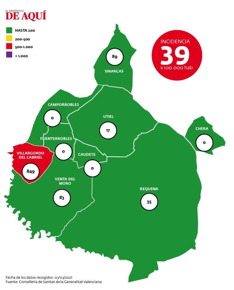 Mapa de incidencia de la comarca a fecha del 5 de marzo