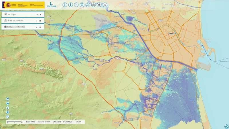 Mapa de las zonas más inundables antes. EPDA