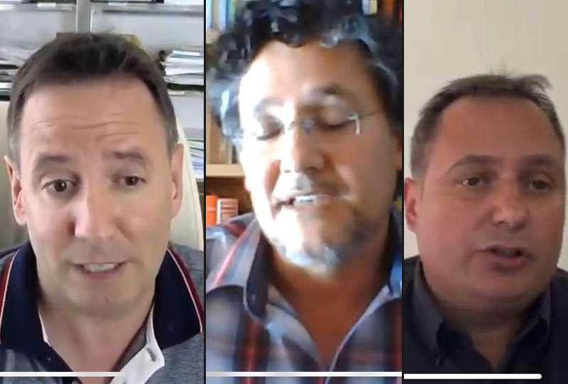 Los alcaldes de Meliana, Albalat dels Sorells y Foios durante la entrevista.