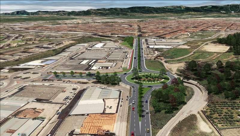 Imatge de la nova rotonda d?accés nord al polígon Alcodar de Gandia. EPDA