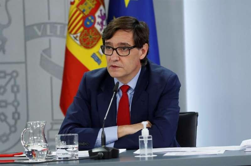 El ministro de Sanidad, Salvador Illa, comparece en la rueda de prensa posterior al Consejo de Ministros este martes en Madrid. EFE