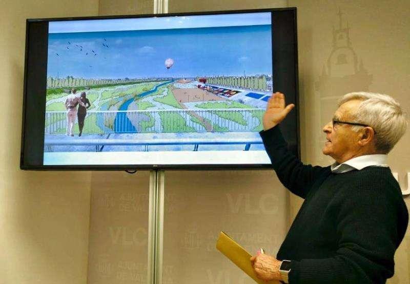 Fotografía cedida por el Ayuntamiento de Valencia del alcalde Joan Ribó ante el proyecto presentado para renaturalizar el nuevo cauce del río Turia. EFE