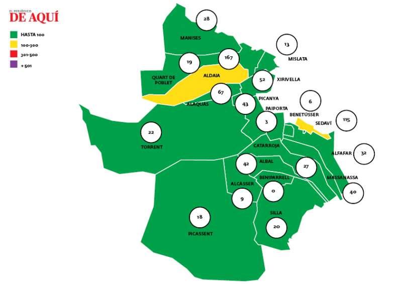 Mapa de incidencia Horta Sud. EPDA