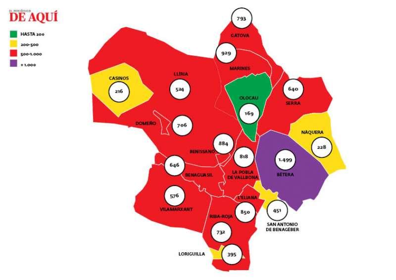 Mapa de incidencia acumulada del virus por municipios en la comarca de Camp de Túria. / EPDA
