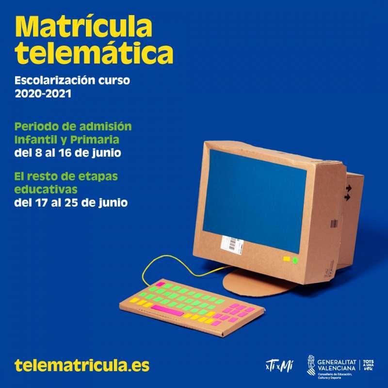 Cartel informativo sobre la matrícula telemática, / EPDA