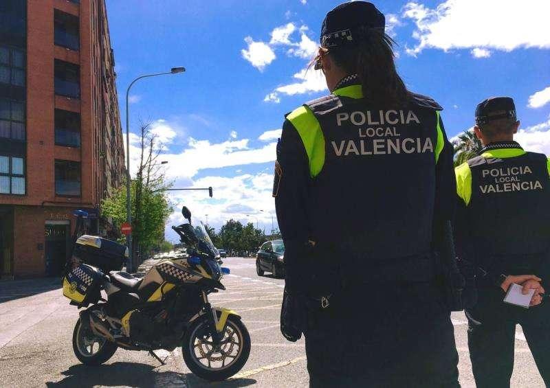 Intervención policial, en una imagen de la Policía Local de València.