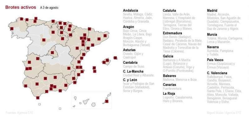 Mapa de brotes activos en España. EFE