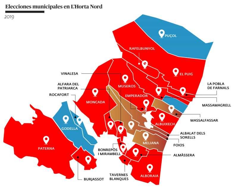 Mapa de las elecciones municipales de 2019. EPDA