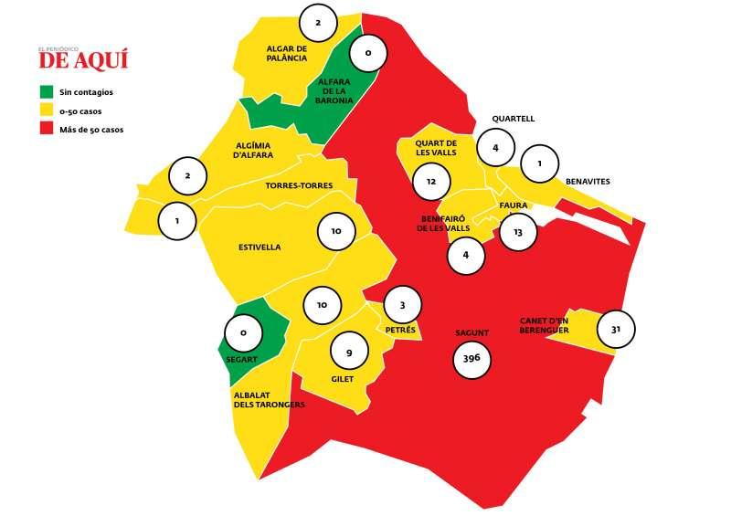Mapa del Camp de Morvedre con los casos activos por municipios en estos momentos. / Fuente: Conselleria de Sanitat Universal i Salut Pública.