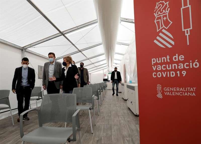 El president de la Generalitat, Ximo Puig, este domingo, en su visita al hospital auxiliar de La Fe
