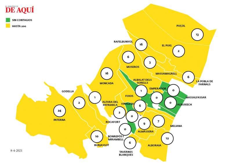 Mapa de incidencia con los datos publicados el 8 de abril de 2021