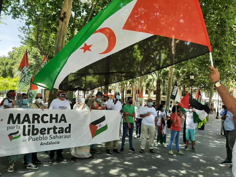 Decenas de personas en Sevilla participan en la concentración de la denominada Marcha por la libertad del Pueblo Saharaui.