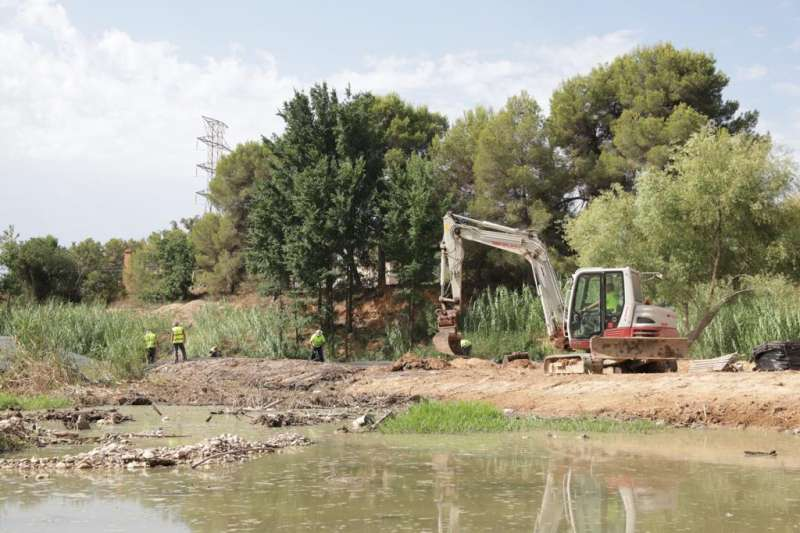 Tareas de limpieza en La Vallesa. EPDA.