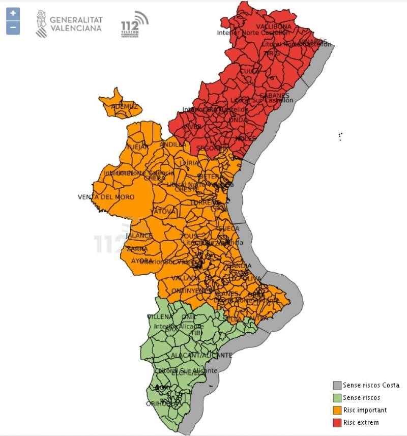 Mapa de riesgo de fuertes lluvias e inundaciones del 112. EPDA