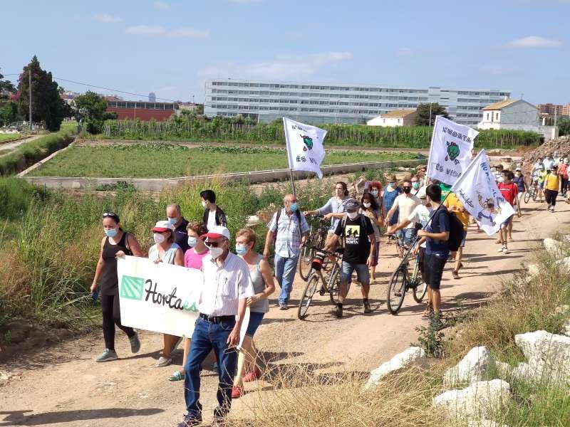 Un instante de la protesta en Alboraya. EPDA