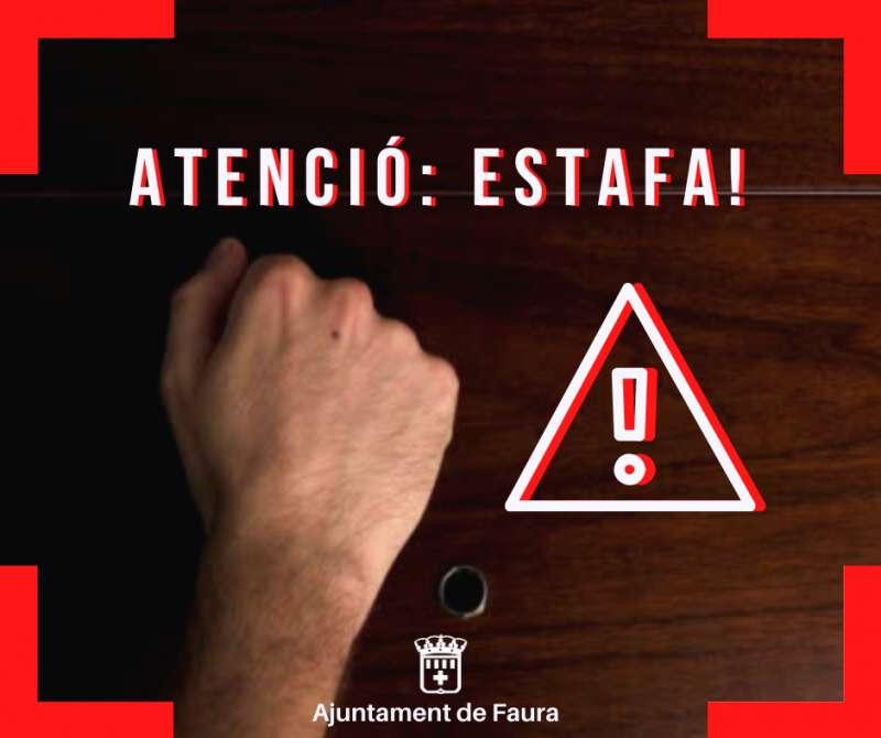 Cartel del Ayuntamiento de Faura alertando del fraude.