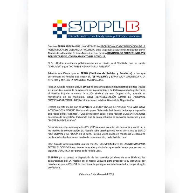Comunicado del SPPLB. EPDA