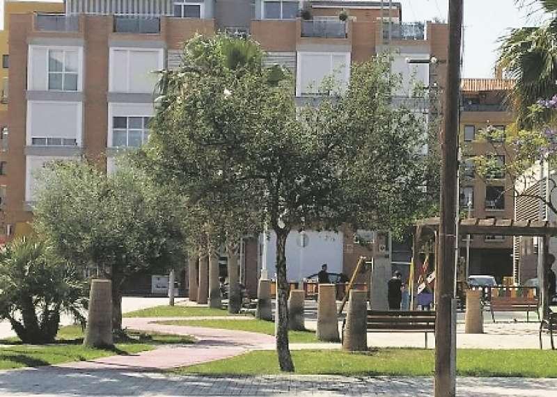 Palmeras taladas en el parc de les Formiguetes de la localidad de Bonrepòs i Mirambell. EPDA