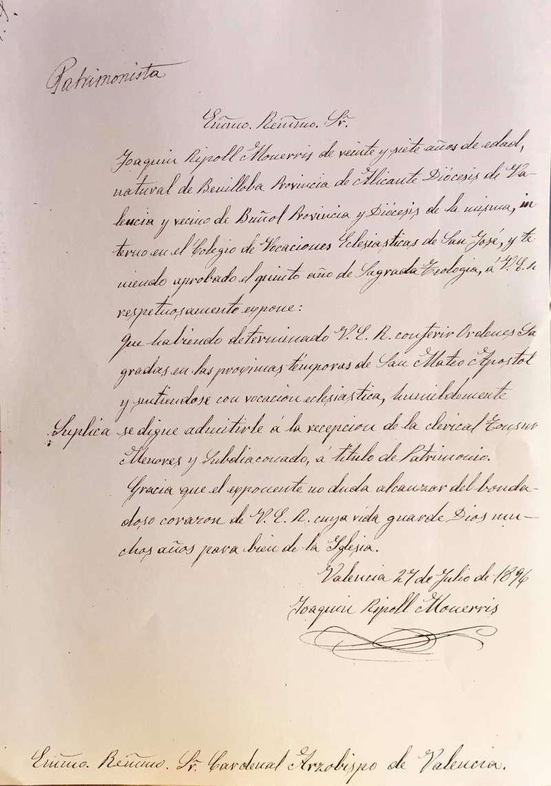 Documento de 1896 firmado por Joaquín Ripoll.