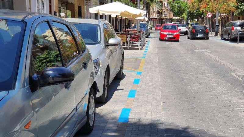 Marques vials zona blava gratuïta. / EPDA