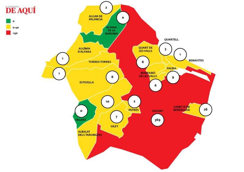 Mapa del Camp de Morvedre con los casos activos actualizados por municipio. / Borja Pedrós, EPDA