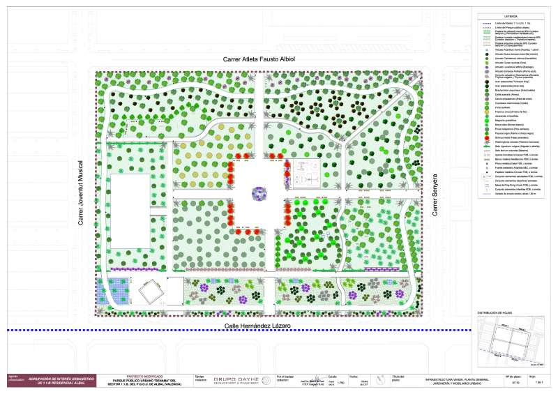 Infraestructura verde. Planta general jardineria y mobiliario urbano.
